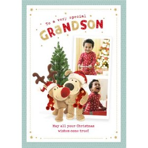 Boofle Photo Upload Christmas Card To A Very Special Grandson, Standard Size By Moonpig Boof168 St
