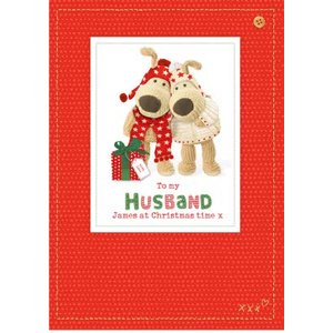 Boofle To Husband Sewn Personalised Christmas Card, Large Size By Moonpig Boof094 Lg