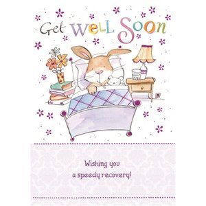 Bunny In Bed Personalised Get Well Soon Card, Large Size By Moonpig Ld401 Lg