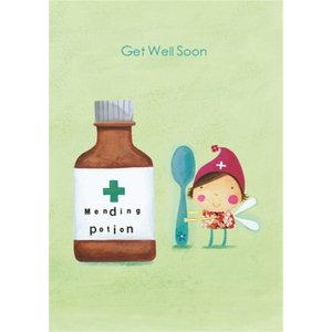 Cartoon Fairy Get Well Soon Card, Large Size By Moonpig Je252 Lg