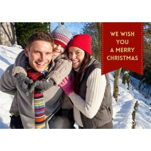 Christmas Red Tag Photo Upload Card, Large Size By Moonpig Pux270 Lg