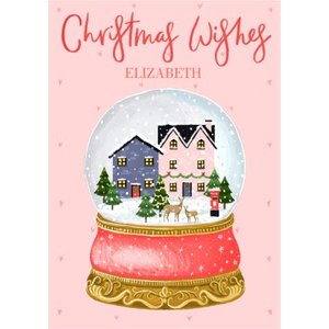 Christmas Wishes Cute Snowglobe Village Personalised Card, Large Size By Moonpig Chw003 Lg