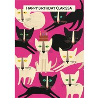 Colourful Cats Personalised Happy Birthday Card, Standard Size By Moonpig Kz001 St