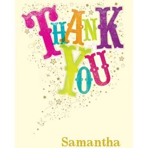 Moonpig Colourful Lettering And Showering Of Stars Personalised Thank You Card, Standard Size By M Lep003 St