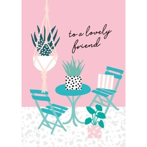 Colourful To A Lovely Friend Garden Table Card, Standard Size By Moonpig Sdj010 St