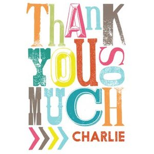 Colourful Trendy Lettering Personalised Thank You Card, Giant Size By Moonpig Imp011