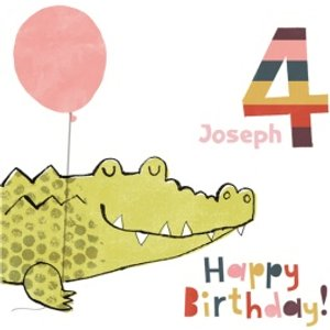 Crocodile With Balloon Personalised Happy 4th Birthday Card, Square Card Size By Moonpig Angr004 Sq