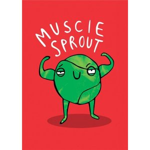 Cute Cartoon Pun Muscle Sprout Christmas Card, Giant Size By Moonpig Kab138