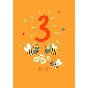 Cute Illustrated Bees And Daisies 3 Today Birthday Card, Standard Size By Moonpig Cri012 St