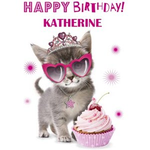 Cute Kitten With Cupcake And Sunglasses Personalised Card, Large Size By Moonpig Epd076 Lg