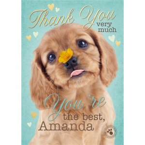 Cute Puppy Personalised Thank You Card, Large Size By Moonpig Stup028 Lg