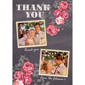 Moonpig Dark Grey And Pink Roses With Double Photo Upload Wedding Thank You Card, Giant Size By Mo Prt006