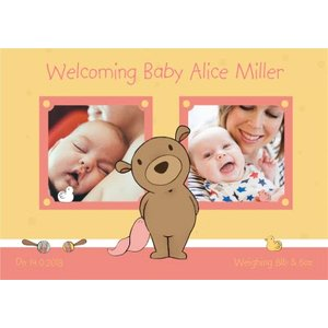 Darling Bear New Baby Girl Photo Card, Large Size By Moonpig Tbs021 Lg