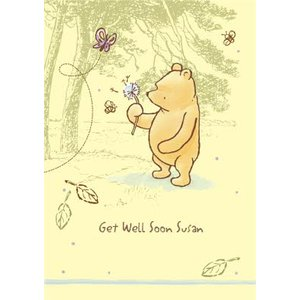 Moonpig Disney Classic Winnie The Pooh Dandelion Personalised Get Well Soon Card, Giant Size By Mo Cp611