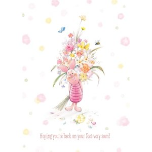 Disney Piglet And Flowers Personalised Get Well Soon Card, Standard Size By Moonpig Wp536 St