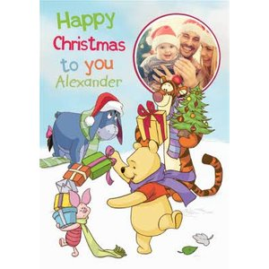 Disney Winnie The Pooh And Friends Photo Upload Christmas Card, Large Size By Moonpig Wp624 Lg