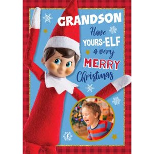 Elf On The Shelf Grandson Have Yours-elf A Merry Christmas Card, Large Size By Moonpig Eos006 Lg