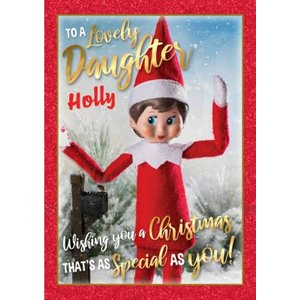 Elf On The Shelf To A Lovely Daughter Christmas Card, Giant Size By Moonpig Eos003