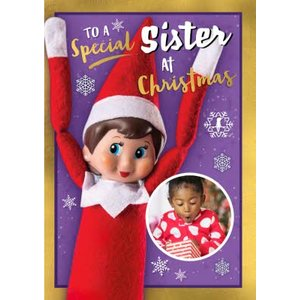 Elf On The Shelf To A Special Sister Christmas Card, Standard Size By Moonpig Eos007 St