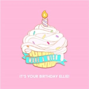 Female Birthday Card - For Her Cupcake Pin Badge, Large Square Size By Moonpig Pint002 Sq Lg