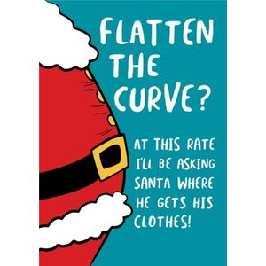 Flatten The Curve Funny Santa Card, Large Size By Moonpig Bant048 Lg
