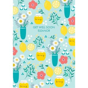 Floral Citrus Honey Get Well Soon Card, Large Size By Moonpig Je678 Lg