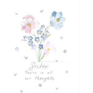 Moonpig Floral Illustration Sister You Are In All Our Thoughts Sympathy Card, Standard Size By Moo Sfr004 St
