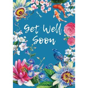 Floral Japenese Get Well Soon Card, Large Size By Moonpig Rks009 Lg