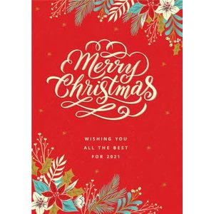 Floral Wishing You A Merry Christmas Card, Large Size By Moonpig Dcd017 Lg