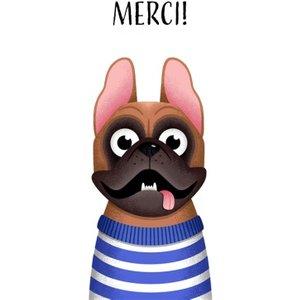 Folio French Bulldog Merci Thank You Card, Giant Size By Moonpig Fol018