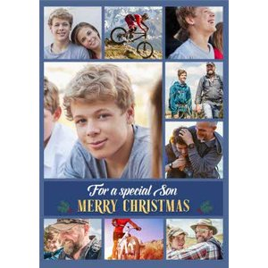 For A Special Son Multiple Photo Upload Christmas Card , Large Size By Moonpig Pux339 Lg