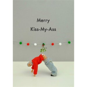 Funny Dolls Merry Kiss My Christmas Card, Giant Size By Moonpig Bol036