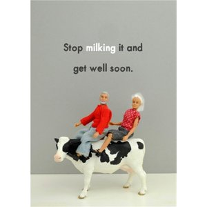 Funny Dolls Stop Milking It And Get Well Soon Card, Standard Size By Moonpig Bol203 St