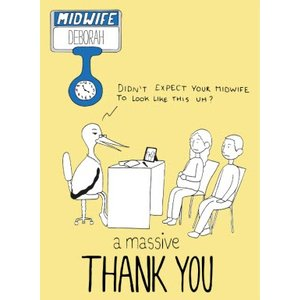 Funny Thank You Card For The Midwife, Standard Size By Moonpig Nwe119 St
