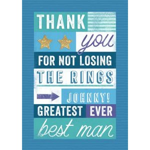 Greatest Ever Best Man Thank You Card , Standard Size By Moonpig Blpa008 St