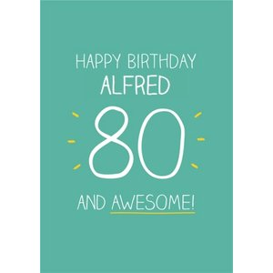 Green And Yellow Awesome Happy 80th Birthday Card, Giant Size By Moonpig Hj039
