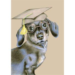Hand Drawn Dachshund Graduation Cap Card, Standard Size By Moonpig Ded007 St