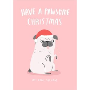 Have A Pawsome Christmas Card, Standard Size By Moonpig Chcl118 St