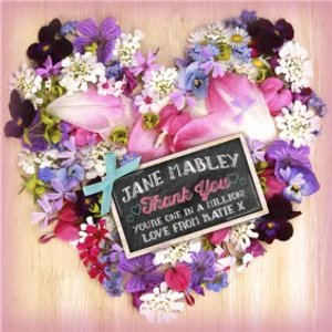Moonpig Heart Shaped Flower Arrangement With Chalkboard Style Tag Personalised Thank You Card, Lar Ll1118 Lg