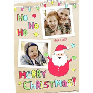 Ho Personalised Double Photo Upload Merry Christmas Card, Standard Size By Moonpig Hdp001 St