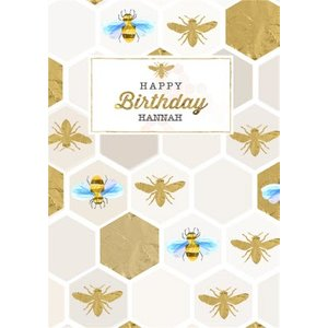 Honeycomb Bees Personalised Birthday Card, Giant Size By Moonpig Bee066
