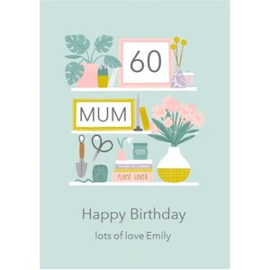 Moonpig Illiustrated Shelves Houseplants Picture Frames Flowers Mum 60th Birthday Card, Giant Size Saf004