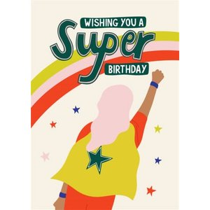 Illustrated Character In Cape Super Birthday Card, Large Size By Moonpig Cha034 Lg