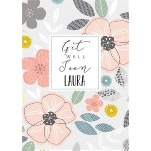 Illustrated Floral Get Well Soon Card, Standard Size By Moonpig Ldh014 St