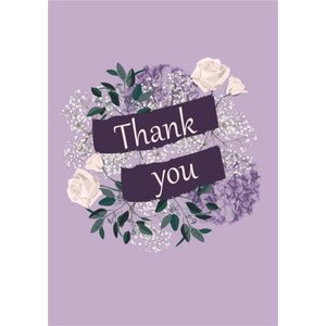 Illustrated Purple Flowers Thank You Card, Standard Size By Moonpig Lsy074 St