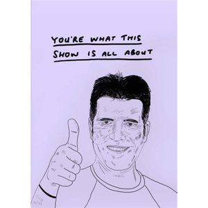 Moonpig Jolly Awesome You're What This Show Is All About Simon Cowell Birthday Card, Standard Size Jol075 St