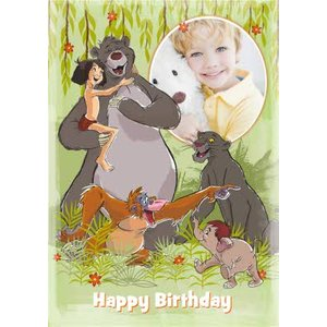 Jungle Book Baloo Mowgli And Friends Personalised Photo Upload Card, Giant Size By Moonpig Jub005