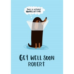 Lucy Maggie Dog Cone Get Well Soon Card, Large Size By Moonpig Luc025 Lg