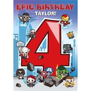 Marvel Comics Epic 4th Birthday Card , Standard Size By Moonpig Mrv078 St