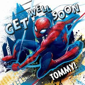 Marvel Spiderman Personalised Get Well Soon Card, Large Square Card Size By Moonpig Spd022 Lg